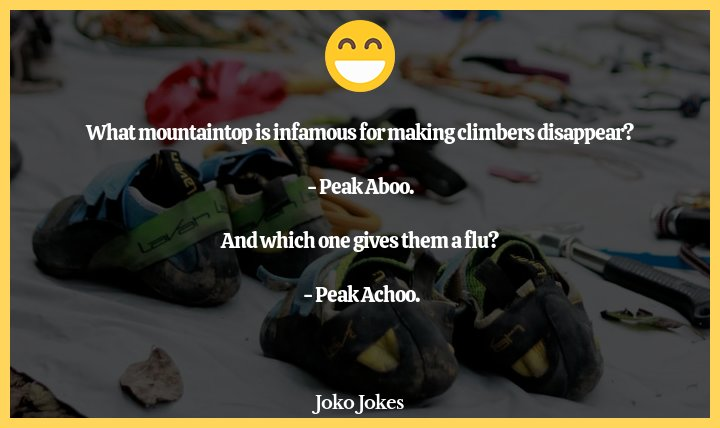 Climber joke, What happens when you cross a fly and a mountain climber?