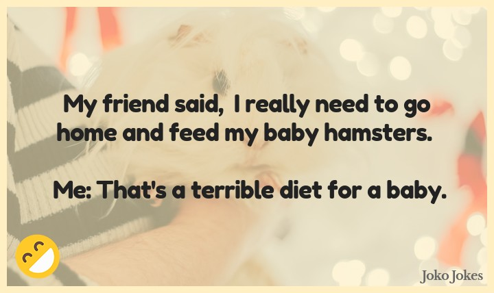 Hamsters joke, My friend said,  I really need to go home and feed my baby hamsters.